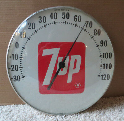 1970 7-Up Round Bubble Glass Thermometer