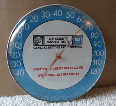 Vintage Gm Quality Service Parts Round Bubble Glass Thermometer