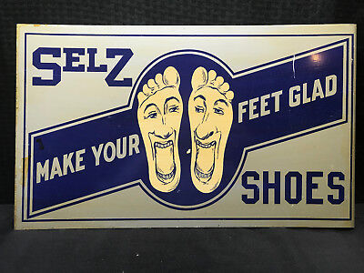 SELZ Shoes Doube Sided Tin Sign Make Your Feet Glad Great Condition Reproduction
