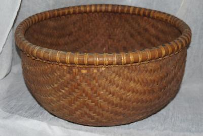 Large Export Oriental Rattan Bamboo Woven Rice Basket