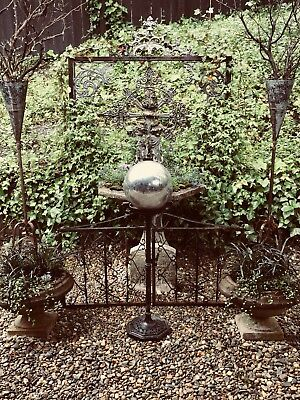 Vintage Gothic Garden Gazing Ball on Antique Iron Stand Weather Worn Yard Art
