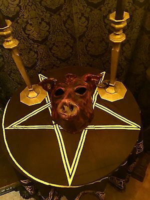 Italian Leather Pig Mask Occult Pagan Halloween Carnival American Horror LaVey