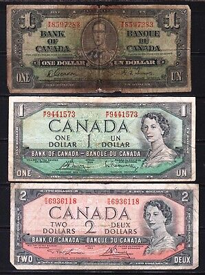 "Canada - 1937-54 Bank of Canada 2X1, 2 Dollar note P58d-75c-76d  ""KG VI""  ""QEll"""