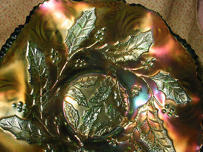 """Antique Millersburg """"HOLLY WHIRL"""" Green CARNIVAL GLASS Six Ruffle Bowl"""