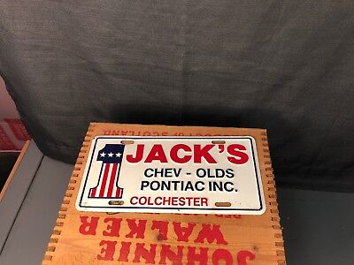 Jacks Chevrolet Olds Pontiac Advertising License Plate Colchester Connecticut