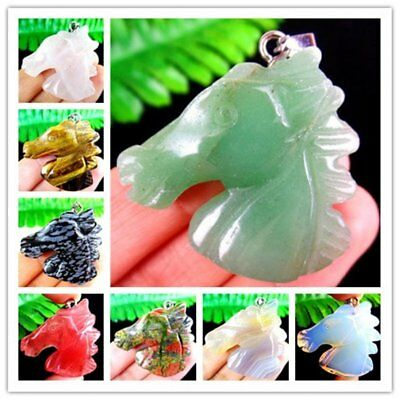 Various Stone Gem Agate Crystal Mix & Match Horse Head Pendant 39*36*9mm HH6345