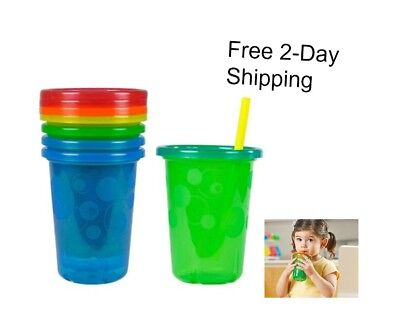 Spill Proof Straw Sippy Cups with Snap Lids Toddler Kids Drink Mugs 10 Oz 4 Ct