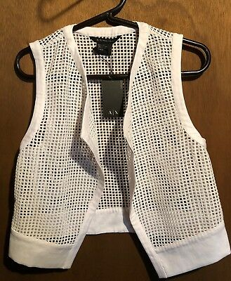 New Armani Exchange AX White Mesh Vest Womens Size XS Extra Small NWT