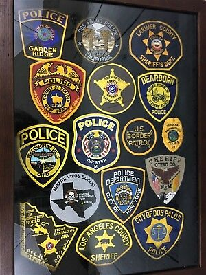 16 Rare Retired Original Police/ Sheriff/ Border Patrol/ Homicide Patches Framed