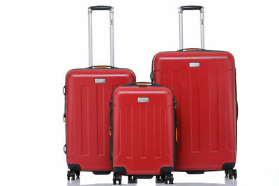 JEEP Miami Hard Luggage 3 piece set TSA expanding Lightweight - RED