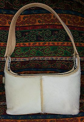 Vicenza Inc Gorgeous Vintage Ivory Calf Hair & Leather Small Hand Bag~Excellent