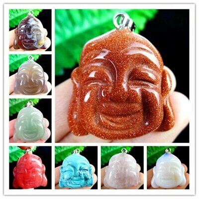 Various Stone Quartz Agate Mix and Match Carved Buddha Head Pendant Bead HH6346