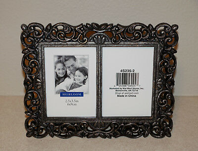 "Heirloom Brand Metal Picture Photo Frames 2- 2.5"" X 3.5"" Pewter Color 4S235-2"