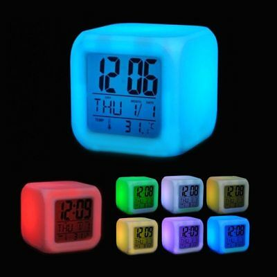 Glowing Change Alarm Clock Digital 7 Color LED Display Thermometer Clocks Time