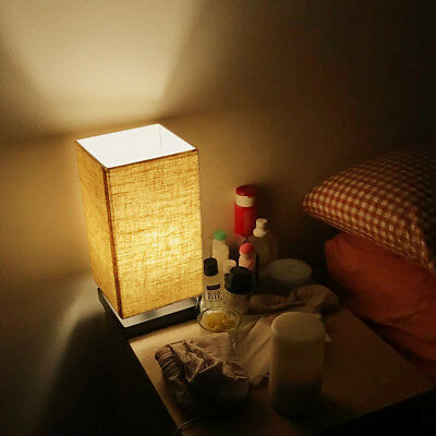 LE Table Lamp Bedside Nightstand Lamps Simple Desk Light Fabric Wooden E26 Base