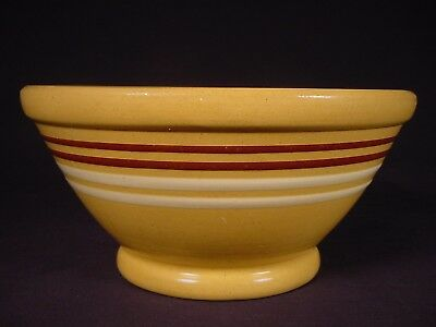 "VERY RARE 1800s GREAT 9"" ANTIQUE AMERICAN 4 BAND BOWL YELLOW WARE"