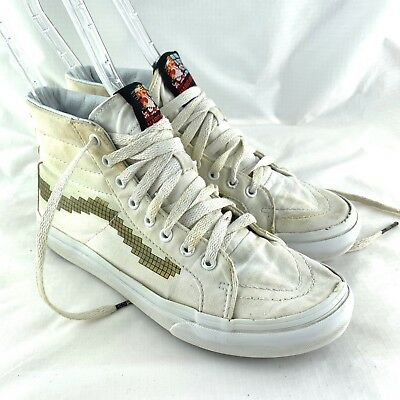 e369d83844d Vans womens sneakers high top shoes 7 sk8 hi slim white canvas Nintendo  Mario