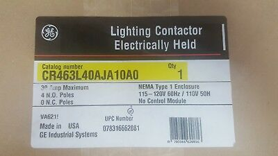 GE electric supply CR463L40AJA10A0 30 AMP 4 POLE LIGHTING CONTACTOR 120V NEW
