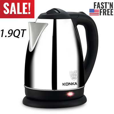 Electric Tea Kettle Hot Water Stainless Steel Cordless Pot Fast Boiler Kitchen E