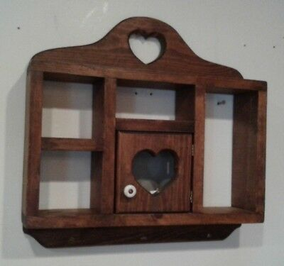 Vintage Large Wooden Wall Shelf With Heart Cut Out Wire Door 16' X 16' X 3.5