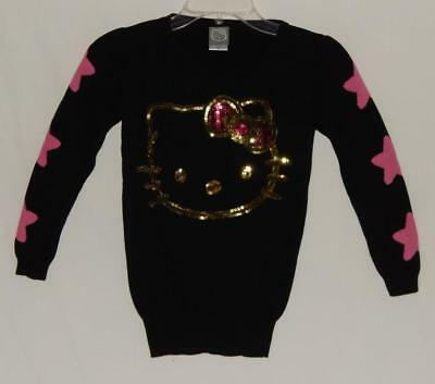 96280c6d7 HELLO KITTY Kids Girls Black Cotton Graphic Crew-neck Sweater Size Medium
