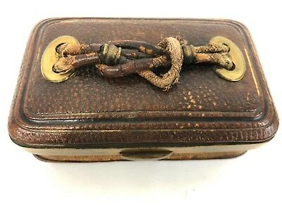 Antique Victorian Leather and Brass Etui Sewing Kit Accordion