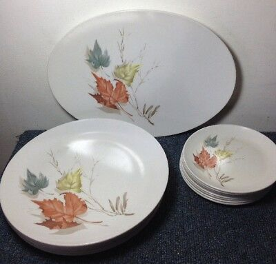 boonton leaf Pattern Lot 16 Pieces 7 Dinner Plates 8 Small Plates 1 Oval Platter