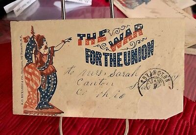 """Civil War Union Cancelled Postal Cover- Decorative """"The War for the Union"""""""