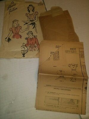 Advance pattern  8 girls shirt 4035 vintage blouse sewing neat