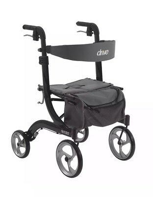 Drive Medical Nitro Aluminum Adjustable European Style Rollator Walker, Black
