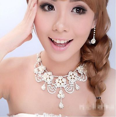 Rhinestones Pearl Wedding Bridal Crystal Necklace Earring Jewelry Set Accessory