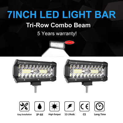 7Inch CREE LED Work Light Bar Flood Spot Combo SUV 4WD Offroad Driving 120W 2x