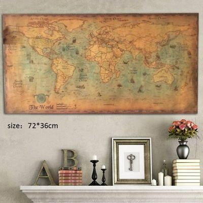 Retro Old Art Paper Painting Home Decor Wall Poster Nautical Ocean Sea World Map