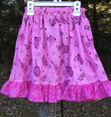 Girls Size 4 Long Modest Western Cowgirl Skirt Pink Boots Hat Full Twirly