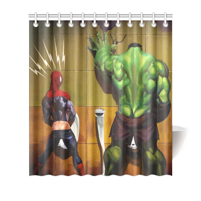 Hulk And Spiderman Shower Curtain Bath Decor 66x72
