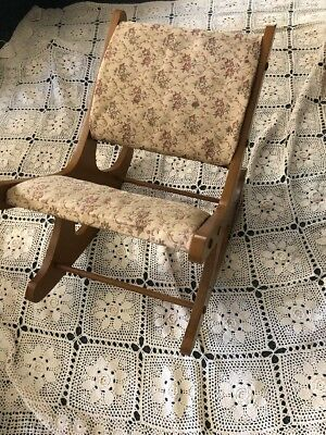 Vintage Victorian Wooden Rocking Tapestry Leg Rest & Foot Stool