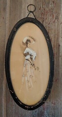Antique Vintage Wood Oval Glass Frame Chain Victorian Lady Print Painting Black