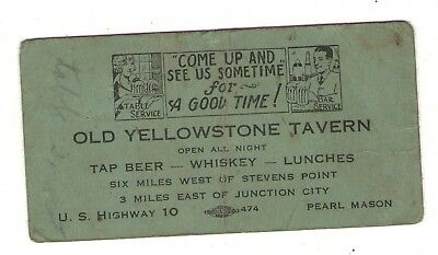 business card Stevens Point Junction City Wisconsin WIS WI tavern