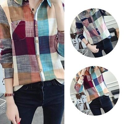 Women Casual Button Down Lapel Shirt Plaids & Checks Flannel Shirts Blouse Top