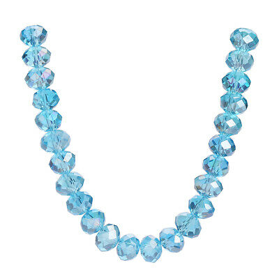 50PCS Lt Lake Blue AB 8x6mm Faceted Rondelle Crystal Glass DIY Spacer Beads G