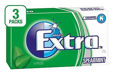 Extra Spearmint Sugarfree Chewing Gum, 14 Piece Pack (Pack of 3) FREE POSTAGE