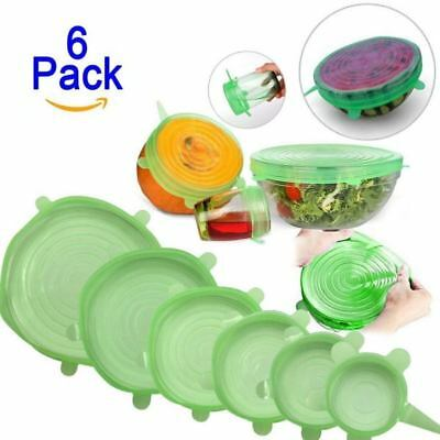 6PCS Stretch Reusable Silicone Bowl Wraps Food Saver Cover Seal Lid NSTA Kitchen