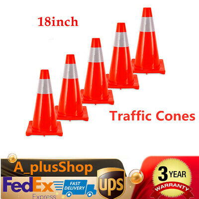 """5pcs 18"""" Road Traffic Cones Red Reflective Road Safety Parking Cones USA STOCK"""