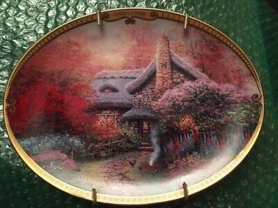 Thomas Kinkade's scenes of serenity plate ashley's cottage;with wall hanger