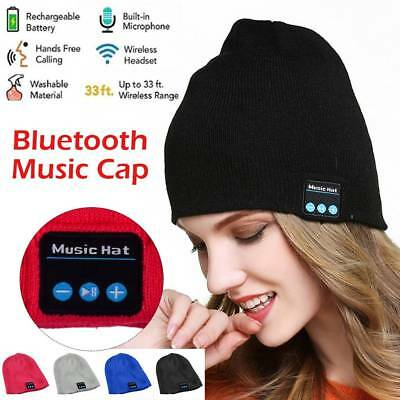 NEW Warm Beanie Hat Wireless Bluetooth Smart Cap Headset Headphone Speaker Mic