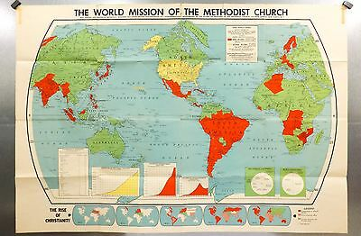Vintage 1957 Methodist Church Rand McNally World Map Rise of Christianity 68x47