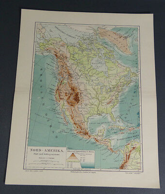 1890s Antique North America River&Mountain Systems Map German Meyers Color Print