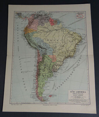 c.1890's Antique South America Political Overview Map ~German Meyers Color Print