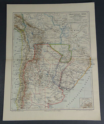 c.1890's Argentina Chile Bolivia Uruguay Paraguay Map ~German Meyers Color Print