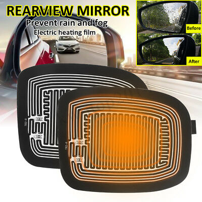 2Pcs Glass Heating Demister Pads Car Side Mirror Heater Defogger+Switch + Cable